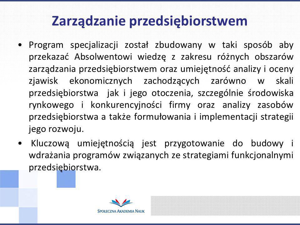 Program specjalizacji został zbudowany w taki sposób aby przekazać Absolwentowi wiedzę z zakresu różnych obszarów zarządzania przedsiębiorstwem oraz u