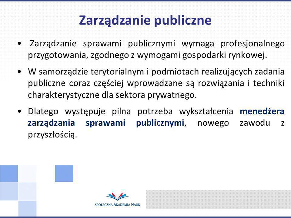 Zarządzanie sprawami publicznymi wymaga profesjonalnego przygotowania, zgodnego z wymogami gospodarki rynkowej.
