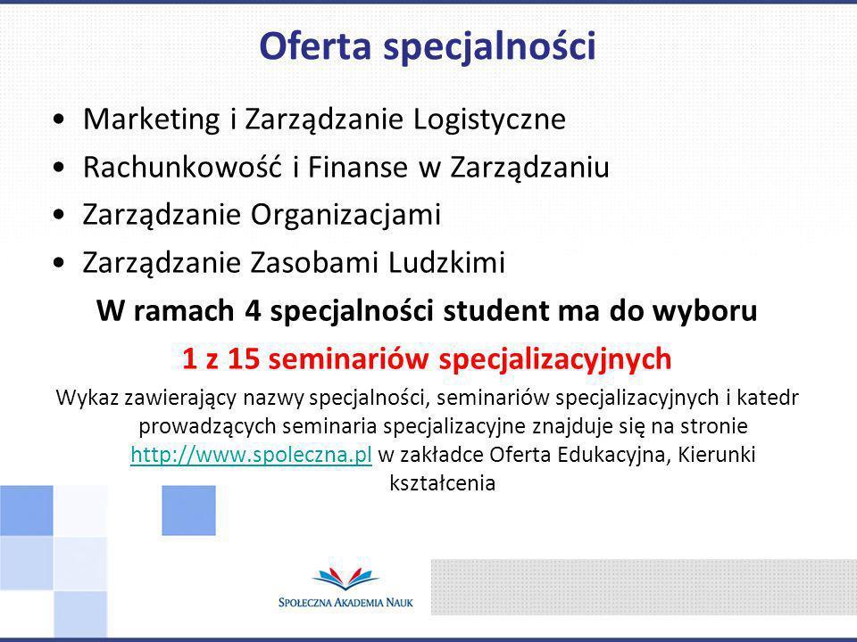 Marketing i Zarządzanie Logistyczne Rachunkowość i Finanse w Zarządzaniu Zarządzanie Organizacjami Zarządzanie Zasobami Ludzkimi W ramach 4 specjalnoś