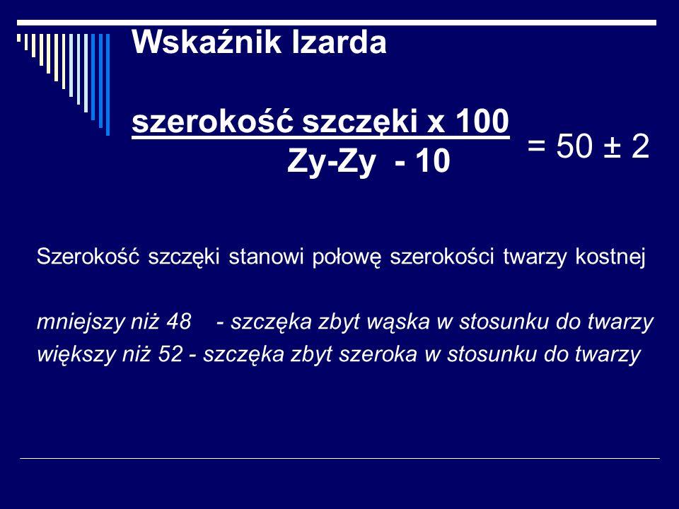 Wskaźnik Izarda szerokość szczęki x 100 Zy-Zy - 10 Szerokość szczęki stanowi połowę szerokości twarzy kostnej mniejszy niż 48 - szczęka zbyt wąska w s