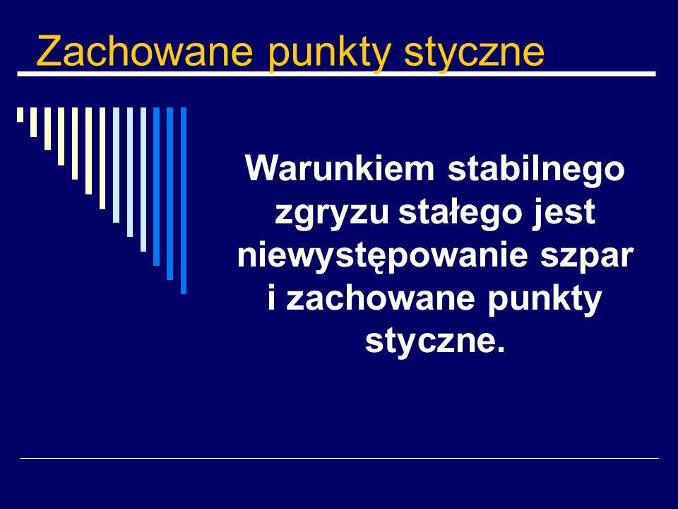 Zachowane punkty styczne Warunkiem stabilnego zgryzu stałego jest niewystępowanie szpar i zachowane punkty styczne.