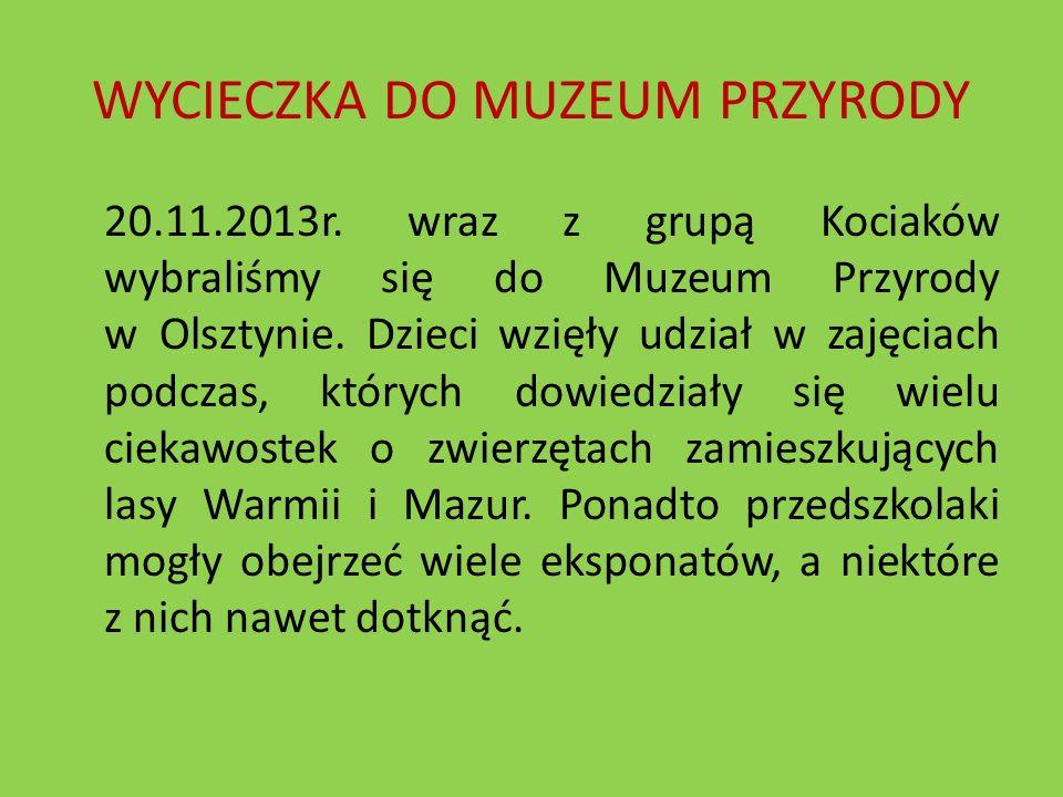 WYCIECZKA DO MUZEUM PRZYRODY 20.11.2013r. wraz z grupą Kociaków wybraliśmy się do Muzeum Przyrody w Olsztynie. Dzieci wzięły udział w zajęciach podcza