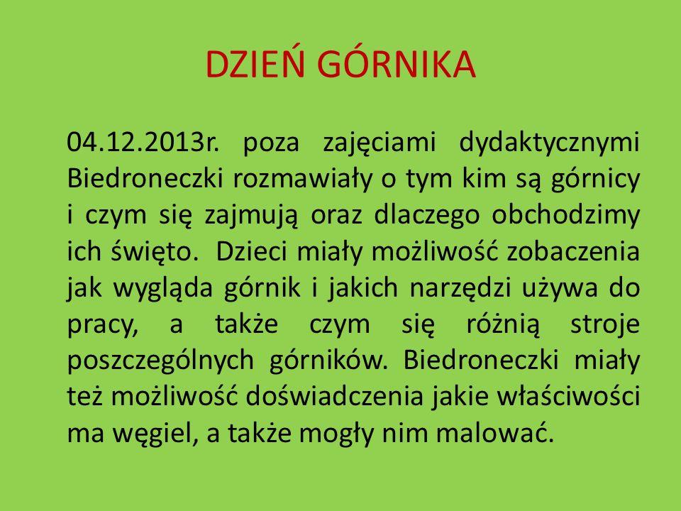 DZIEŃ GÓRNIKA 04.12.2013r. poza zajęciami dydaktycznymi Biedroneczki rozmawiały o tym kim są górnicy i czym się zajmują oraz dlaczego obchodzimy ich ś