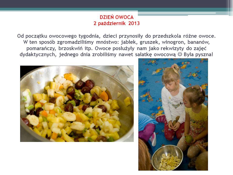 DZIEŃ OWOCA 2 październik 2013 Od początku owocowego tygodnia, dzieci przynosiły do przedszkola różne owoce. W ten sposób zgromadziliśmy mnóstwo: jabł