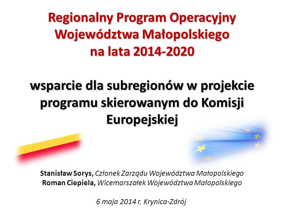Regionalny Program Operacyjny Województwa Małopolskiego na lata 2014-2020 wsparcie dla subregionów w projekcie programu skierowanym do Komisji Europej