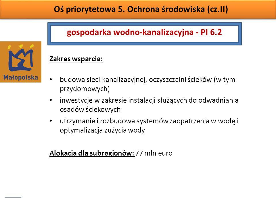 Oś priorytetowa 5. Ochrona środowiska (cz.II) Zakres wsparcia: budowa sieci kanalizacyjnej, oczyszczalni ścieków (w tym przydomowych) inwestycje w zak