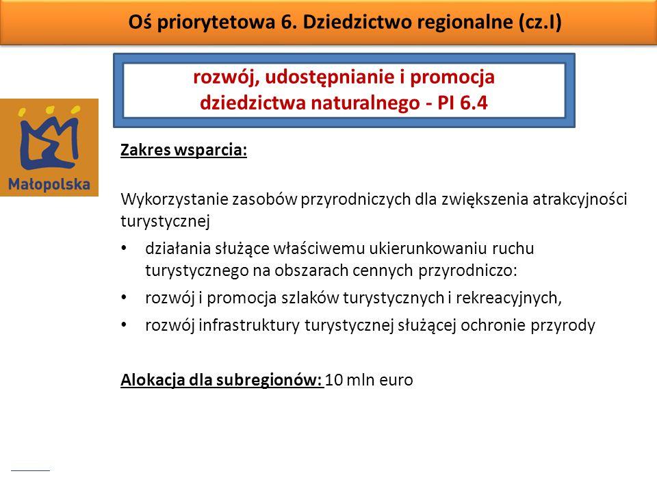 Oś priorytetowa 6. Dziedzictwo regionalne (cz.I) Zakres wsparcia: Wykorzystanie zasobów przyrodniczych dla zwiększenia atrakcyjności turystycznej dzia