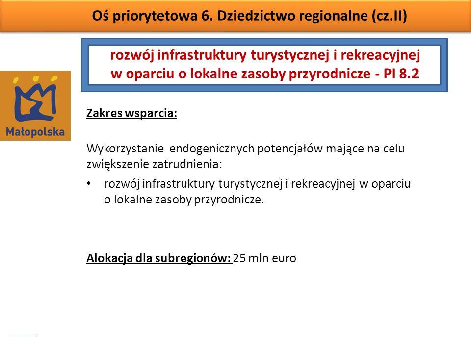 Oś priorytetowa 6. Dziedzictwo regionalne (cz.II) Zakres wsparcia: Wykorzystanie endogenicznych potencjałów mające na celu zwiększenie zatrudnienia: r