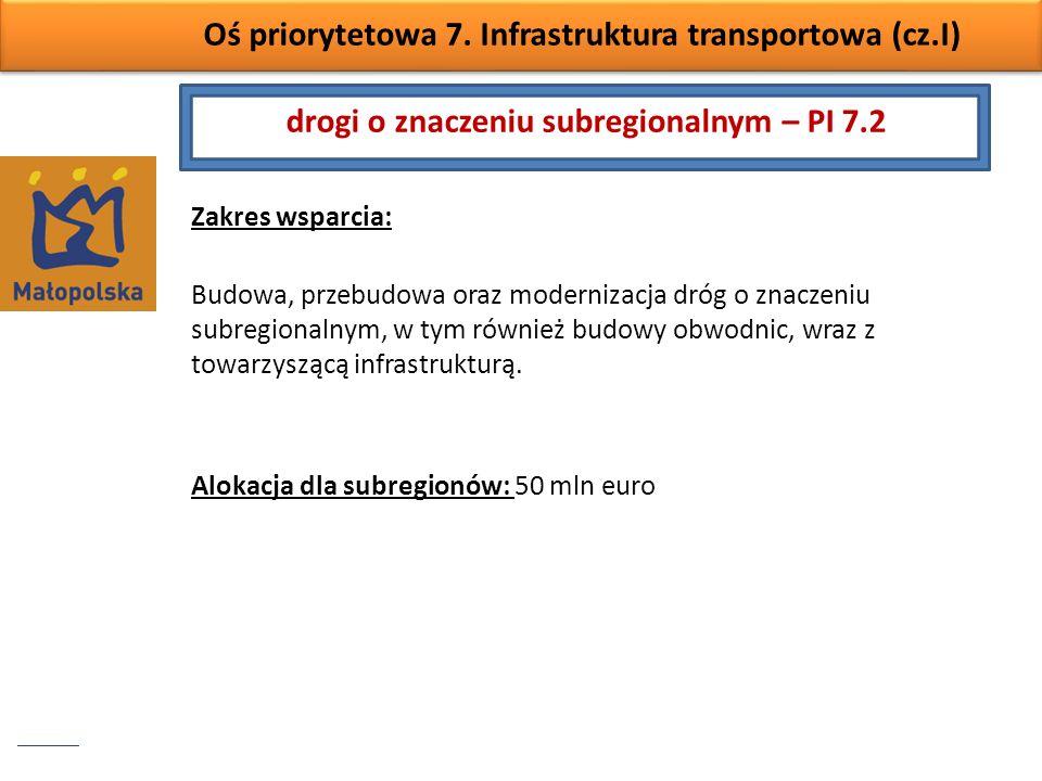 Oś priorytetowa 7. Infrastruktura transportowa (cz.I) Zakres wsparcia: Budowa, przebudowa oraz modernizacja dróg o znaczeniu subregionalnym, w tym rów