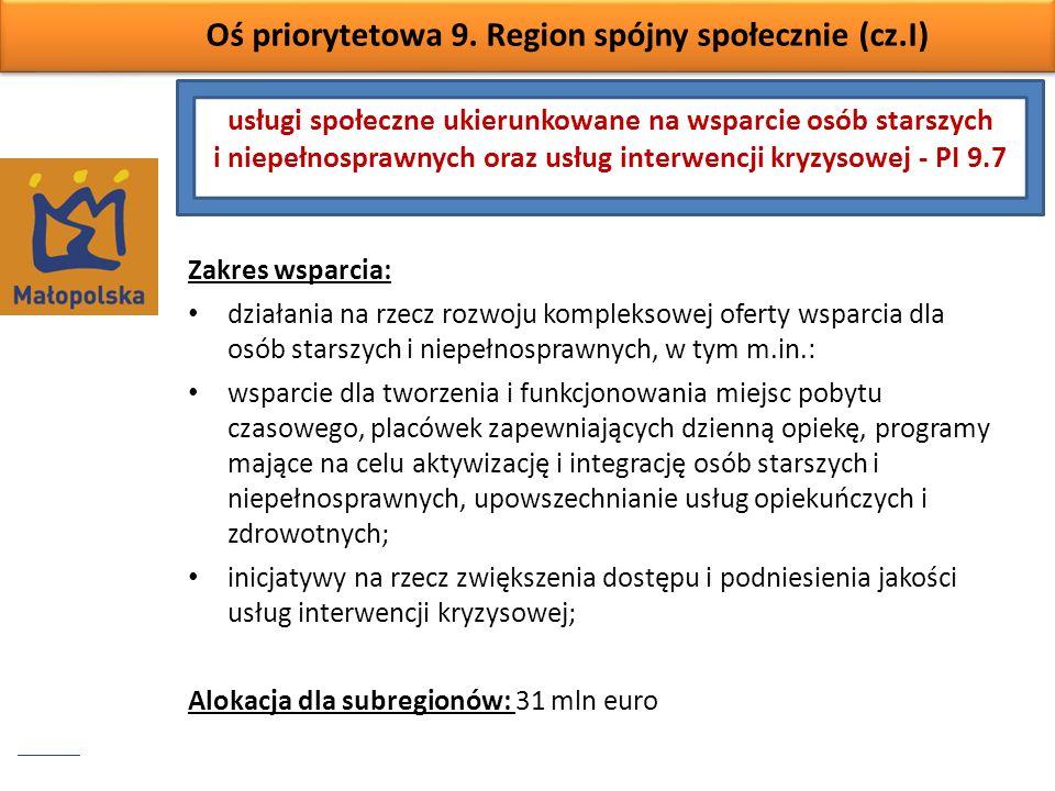Oś priorytetowa 9. Region spójny społecznie (cz.I) Zakres wsparcia: działania na rzecz rozwoju kompleksowej oferty wsparcia dla osób starszych i niepe