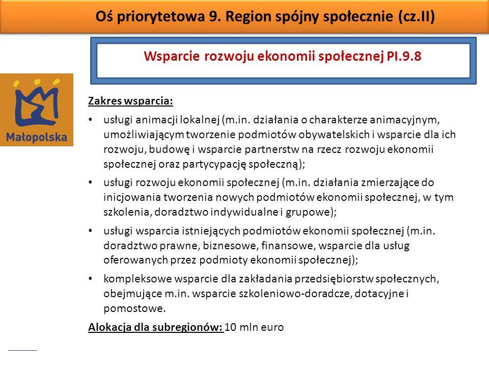 Oś priorytetowa 9. Region spójny społecznie (cz.II) Zakres wsparcia: usługi animacji lokalnej (m.in. działania o charakterze animacyjnym, umożliwiając