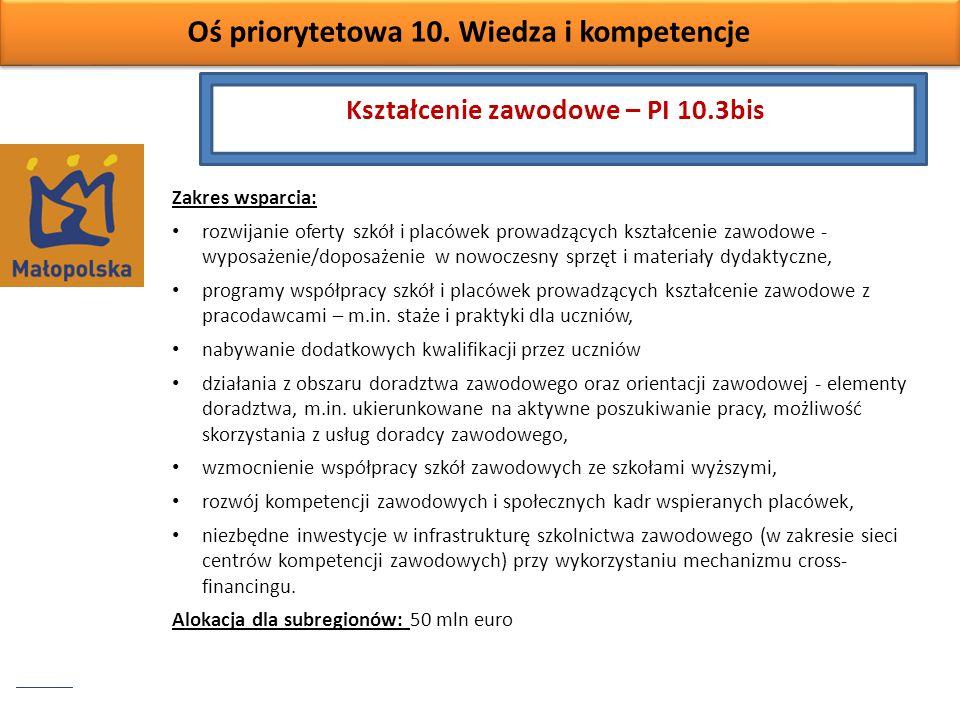 Oś priorytetowa 10. Wiedza i kompetencje Zakres wsparcia: rozwijanie oferty szkół i placówek prowadzących kształcenie zawodowe - wyposażenie/doposażen