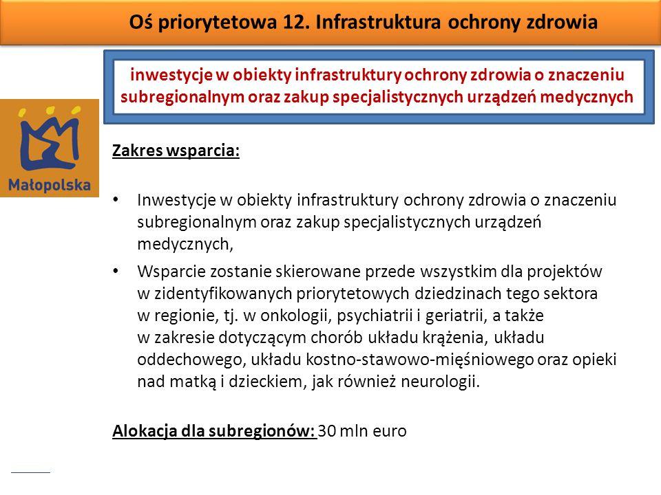Oś priorytetowa 12. Infrastruktura ochrony zdrowia Zakres wsparcia: Inwestycje w obiekty infrastruktury ochrony zdrowia o znaczeniu subregionalnym ora