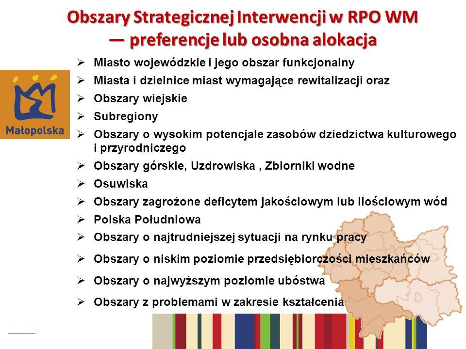 Miasto wojewódzkie i jego obszar funkcjonalny Miasta i dzielnice miast wymagające rewitalizacji oraz Obszary wiejskie Subregiony Obszary o wysokim pot