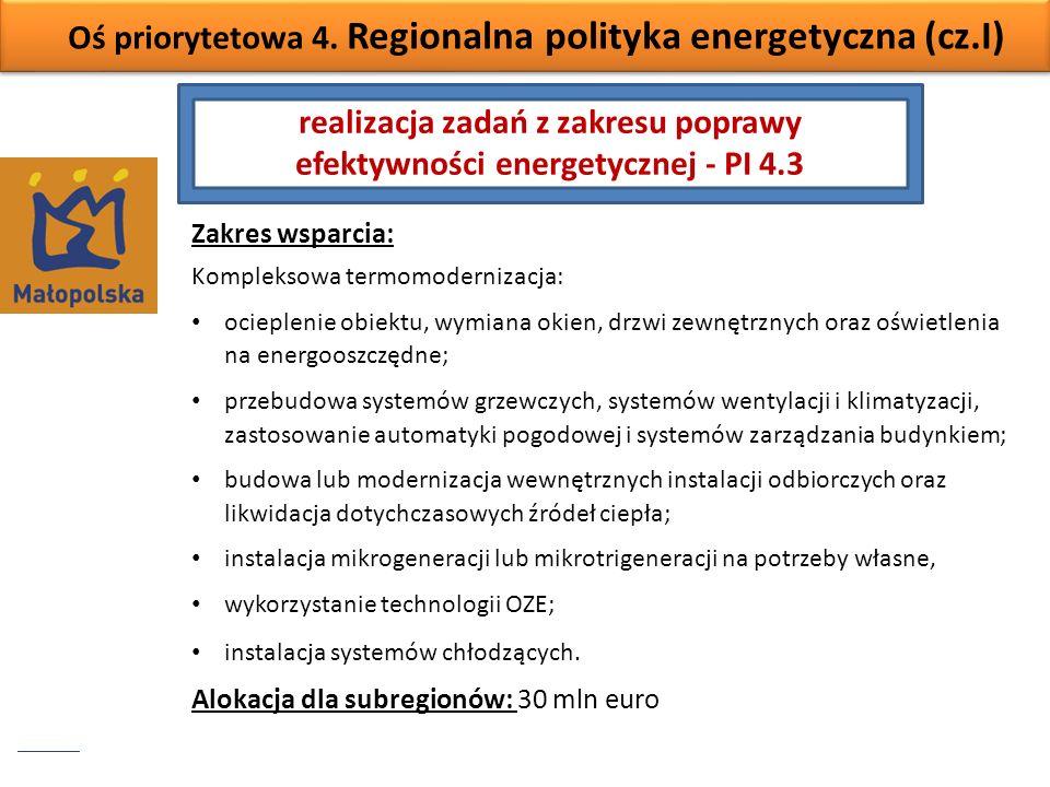 Oś priorytetowa 4. Regionalna polityka energetyczna (cz.I) Zakres wsparcia: Kompleksowa termomodernizacja: ocieplenie obiektu, wymiana okien, drzwi ze