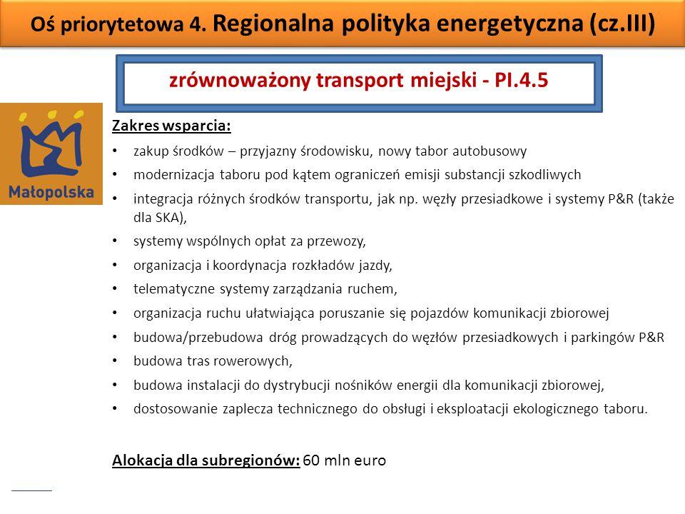 Oś priorytetowa 4. Regionalna polityka energetyczna (cz.III) Zakres wsparcia: zakup środków – przyjazny środowisku, nowy tabor autobusowy modernizacja