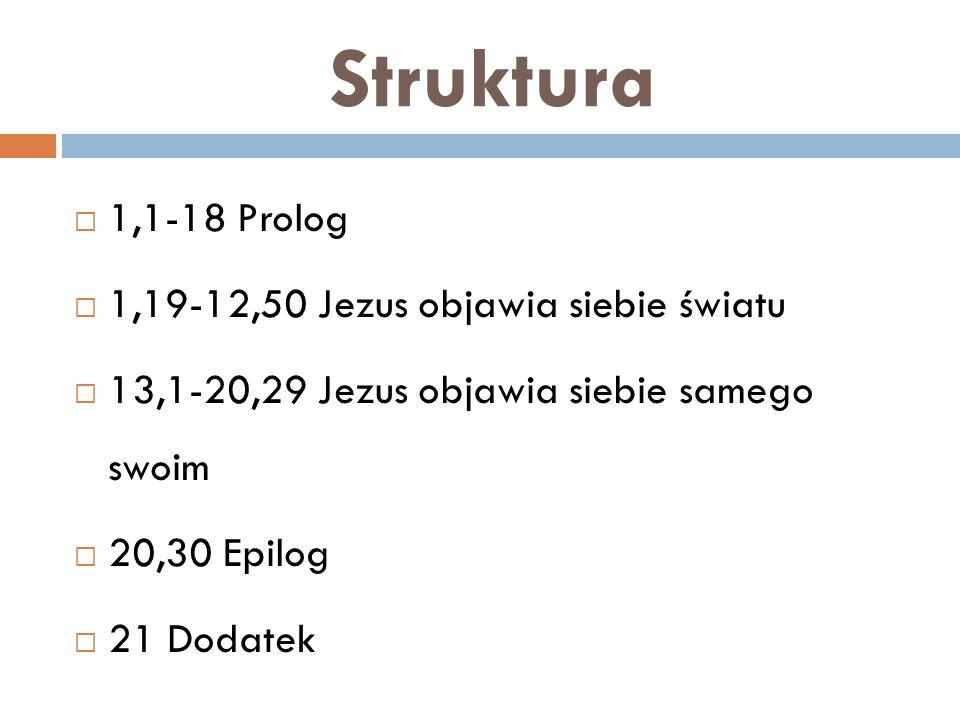 Struktura 1,1-18 Prolog 1,19-12,50 Jezus objawia siebie światu 13,1-20,29 Jezus objawia siebie samego swoim 20,30 Epilog 21 Dodatek
