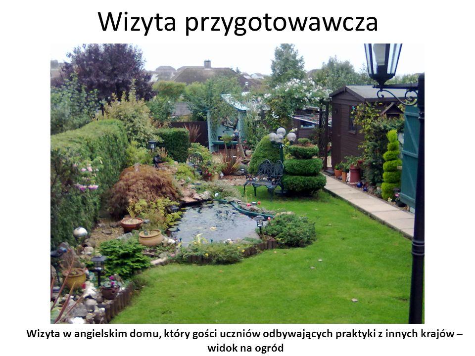 Wizyta przygotowawcza Wizyta w angielskim domu, który gości uczniów odbywających praktyki z innych krajów – widok na ogród