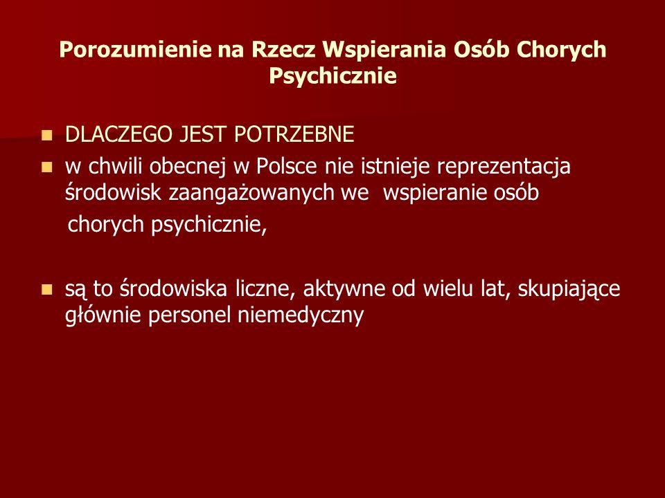 Porozumienie na Rzecz Wspierania Osób Chorych Psychicznie DLACZEGO JEST POTRZEBNE w chwili obecnej w Polsce nie istnieje reprezentacja środowisk zaang