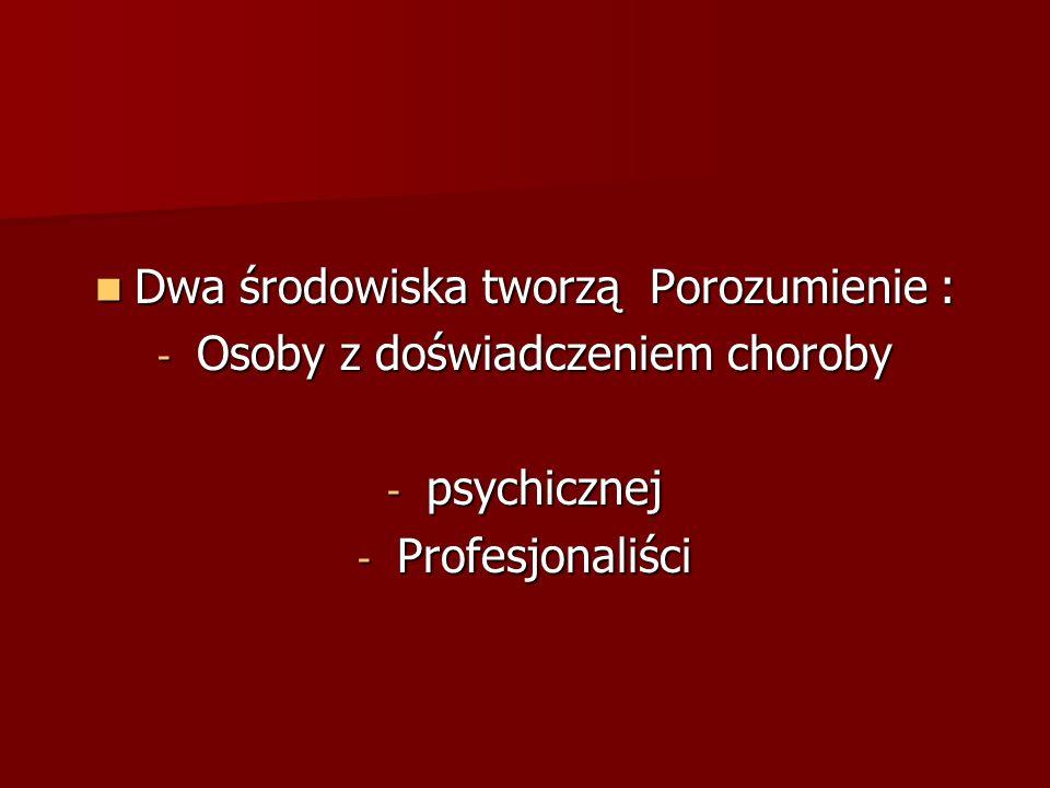 Dwa środowiska tworzą Porozumienie : Dwa środowiska tworzą Porozumienie : - Osoby z doświadczeniem choroby - psychicznej - Profesjonaliści