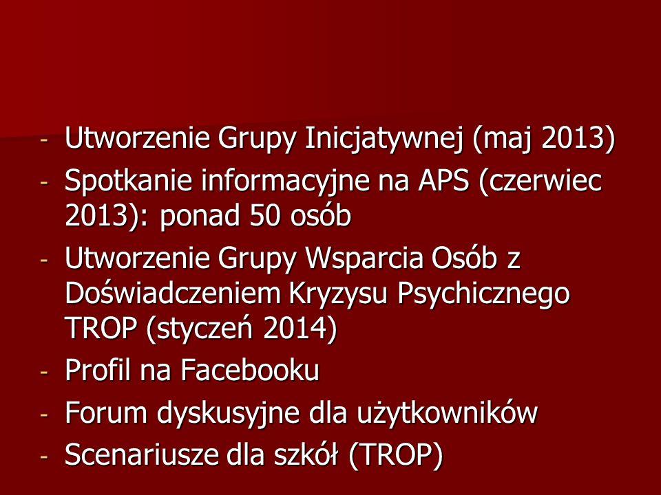- Utworzenie Grupy Inicjatywnej (maj 2013) - Spotkanie informacyjne na APS (czerwiec 2013): ponad 50 osób - Utworzenie Grupy Wsparcia Osób z Doświadcz