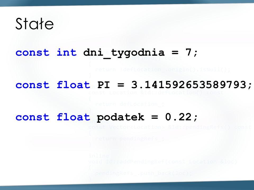 Stałe const int dni_tygodnia = 7; const float PI = 3.141592653589793; const float podatek = 0.22;