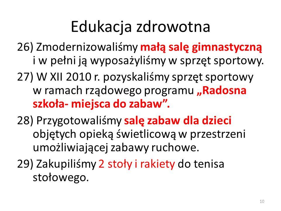 Edukacja zdrowotna 26) Zmodernizowaliśmy małą salę gimnastyczną i w pełni ją wyposażyliśmy w sprzęt sportowy. 27) W XII 2010 r. pozyskaliśmy sprzęt sp