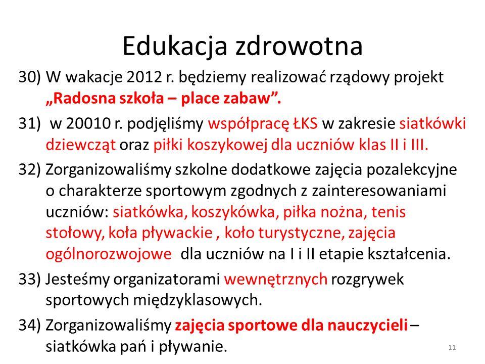 Edukacja zdrowotna 30)W wakacje 2012 r. będziemy realizować rządowy projekt Radosna szkoła – place zabaw. 31) w 20010 r. podjęliśmy współpracę ŁKS w z