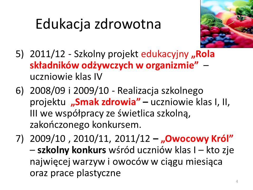 Edukacja zdrowotna 5)2011/12 - Szkolny projekt edukacyjny Rola składników odżywczych w organizmie – uczniowie klas IV 6)2008/09 i 2009/10 - Realizacja