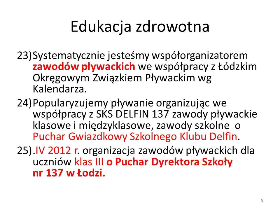 Edukacja zdrowotna 23)Systematycznie jesteśmy współorganizatorem zawodów pływackich we współpracy z Łódzkim Okręgowym Związkiem Pływackim wg Kalendarz