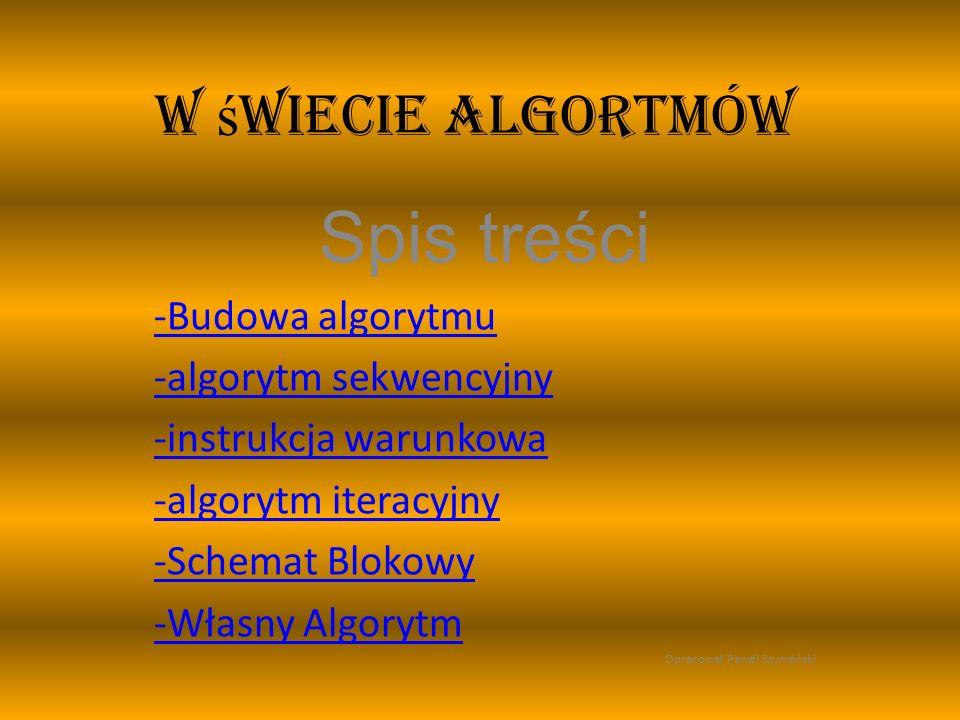 W ś wiecie algortmów Spis treści -Budowa algorytmu -algorytm sekwencyjny -instrukcja warunkowa -algorytm iteracyjny -Schemat Blokowy -Własny Algorytm Opracował Paweł Szymański