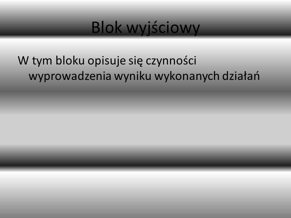 Blok wyjściowy W tym bloku opisuje się czynności wyprowadzenia wyniku wykonanych działań