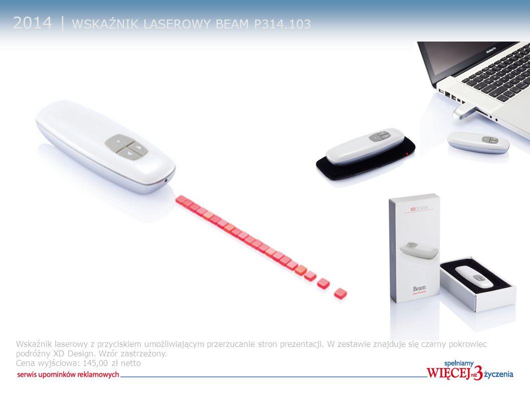 2014 | WSKAŹNIK LASEROWY BEAM P314.103 Wskaźnik laserowy z przyciskiem umożliwiającym przerzucanie stron prezentacji. W zestawie znajduje się czarny p