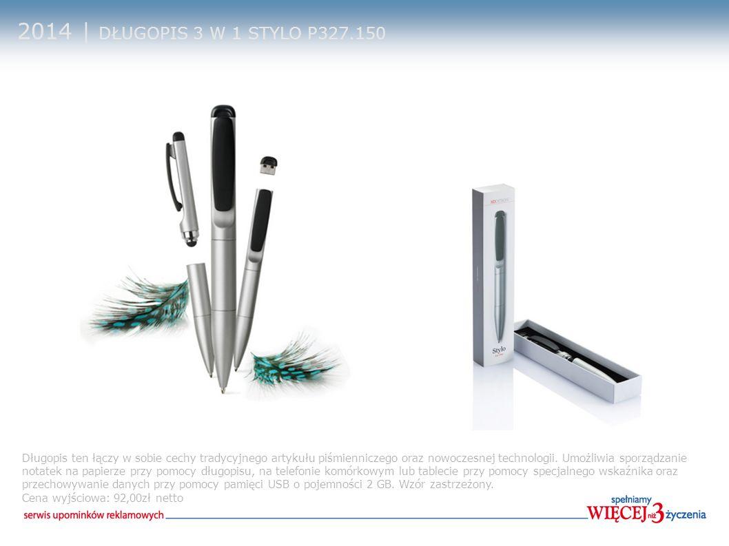 2014 | DŁUGOPIS 3 W 1 STYLO P327.150 Długopis ten łączy w sobie cechy tradycyjnego artykułu piśmienniczego oraz nowoczesnej technologii. Umożliwia spo