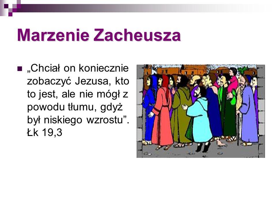 Marzenie Zacheusza Chciał on koniecznie zobaczyć Jezusa, kto to jest, ale nie mógł z powodu tłumu, gdyż był niskiego wzrostu. Łk 19,3