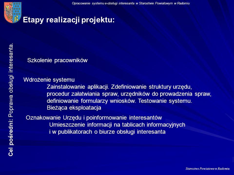 Starostwo Powiatowe w Radomiu Opracowanie systemu e-obsługi interesanta w Starostwie Powiatowym w Radomiu Etapy realizacji projektu: Zmiana schematu o
