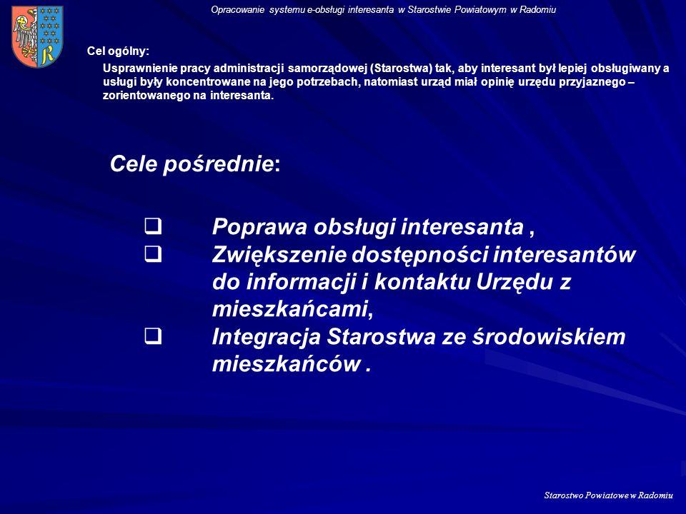 Starostwo Powiatowe w Radomiu Opracowanie systemu e-obsługi interesanta w Starostwie Powiatowym w Radomiu Etapy realizacji projektu: Cel pośredni: Poprawa obsługi interesanta.