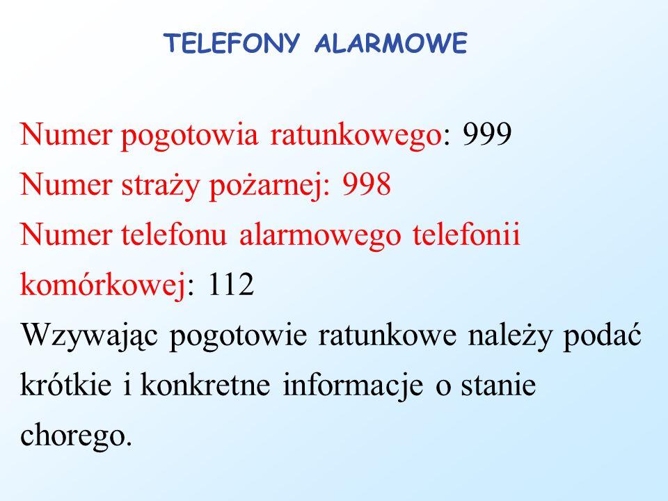 TELEFONY ALARMOWE Numer pogotowia ratunkowego: 999 Numer straży pożarnej: 998 Numer telefonu alarmowego telefonii komórkowej: 112 Wzywając pogotowie ratunkowe należy podać krótkie i konkretne informacje o stanie chorego.