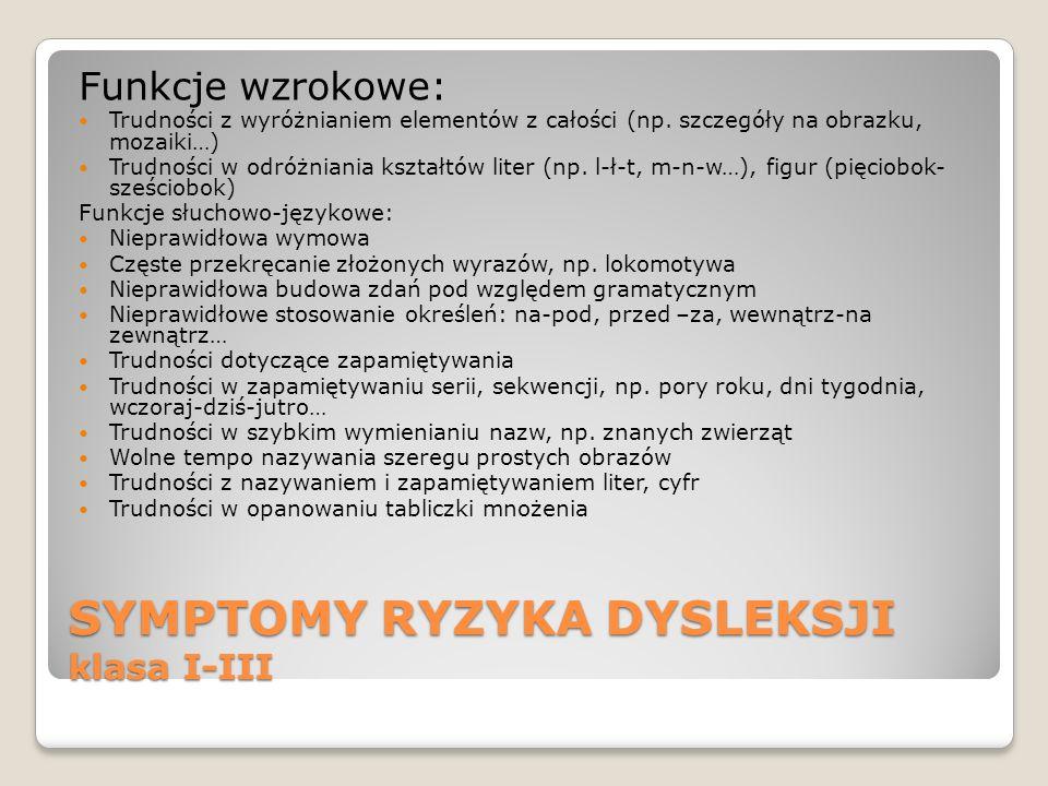 SYMPTOMY RYZYKA DYSLEKSJI klasa I-III Funkcje wzrokowe: Trudności z wyróżnianiem elementów z całości (np. szczegóły na obrazku, mozaiki…) Trudności w