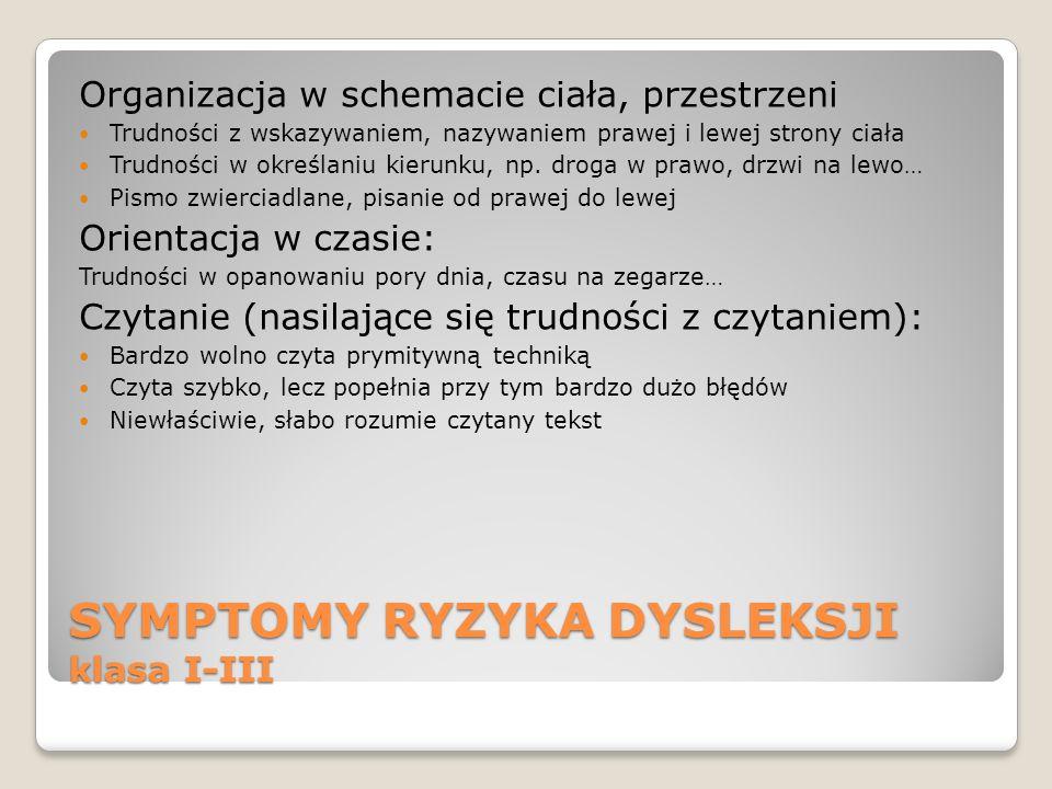 SYMPTOMY RYZYKA DYSLEKSJI klasa I-III Organizacja w schemacie ciała, przestrzeni Trudności z wskazywaniem, nazywaniem prawej i lewej strony ciała Trud