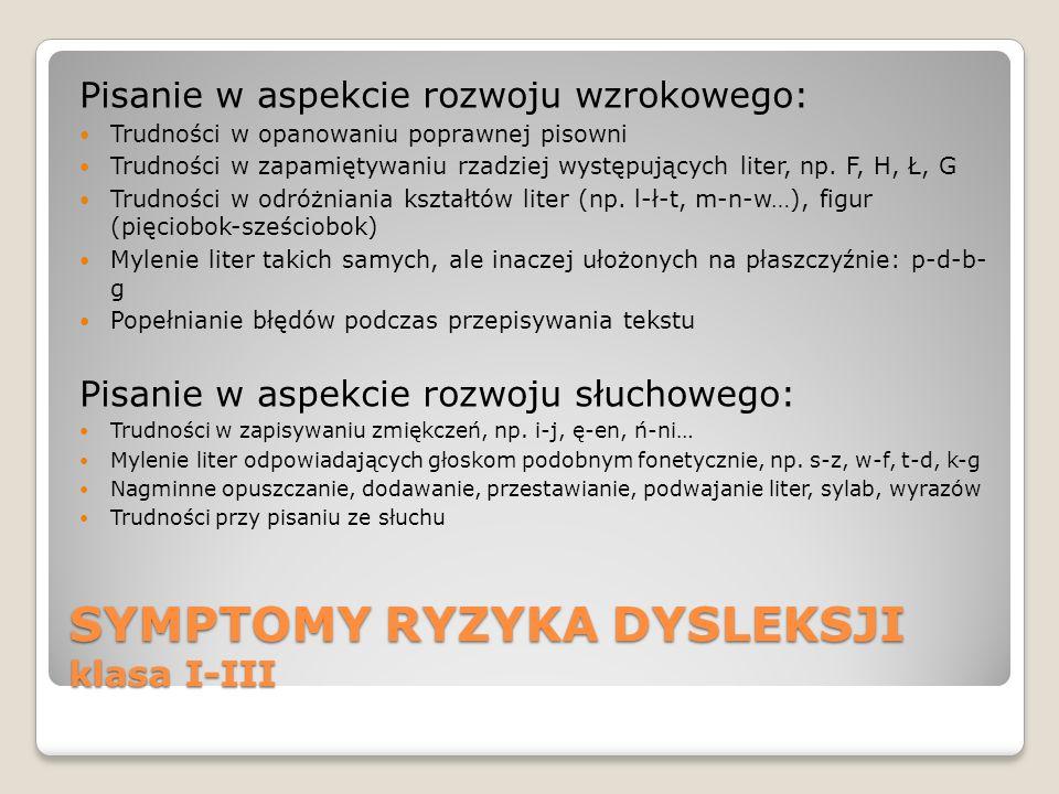 SYMPTOMY RYZYKA DYSLEKSJI klasa I-III Pisanie w aspekcie rozwoju wzrokowego: Trudności w opanowaniu poprawnej pisowni Trudności w zapamiętywaniu rzadz