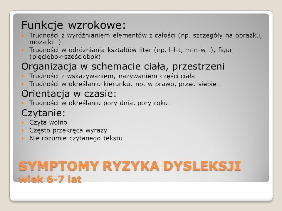 SYMPTOMY RYZYKA DYSLEKSJI wiek 6-7 lat Funkcje wzrokowe: Trudności z wyróżnianiem elementów z całości (np. szczegóły na obrazku, mozaiki…) Trudności w