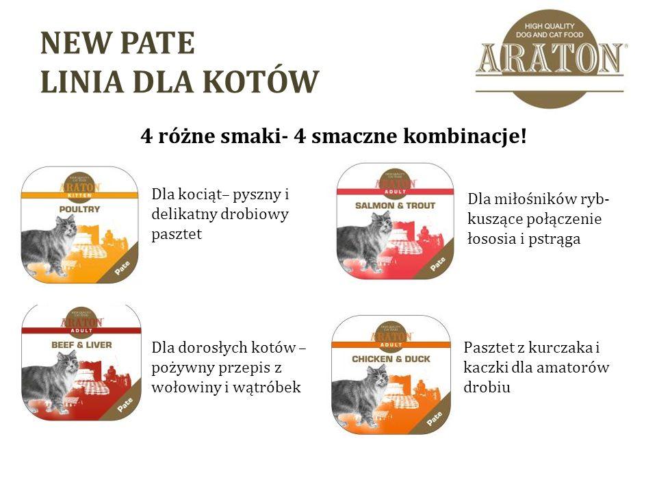 NEW PATE LINIA DLA KOTÓW 4 różne smaki- 4 smaczne kombinacje.