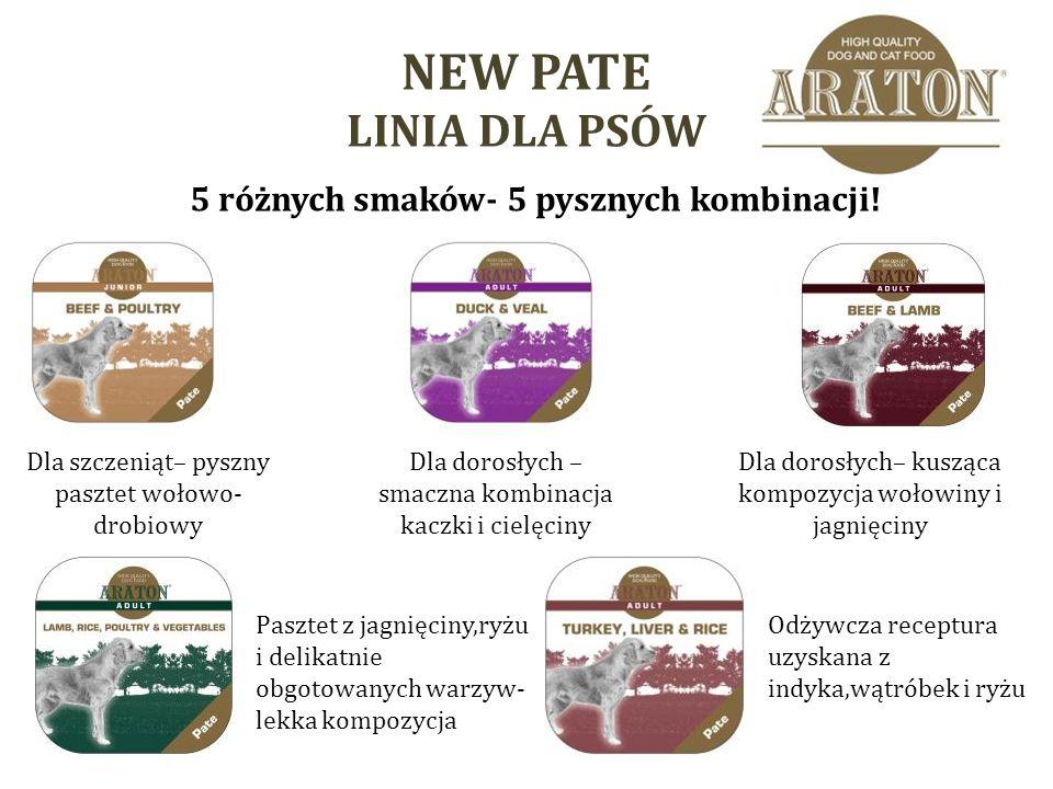 NEW PATE LINIA DLA PSÓW 5 różnych smaków- 5 pysznych kombinacji.