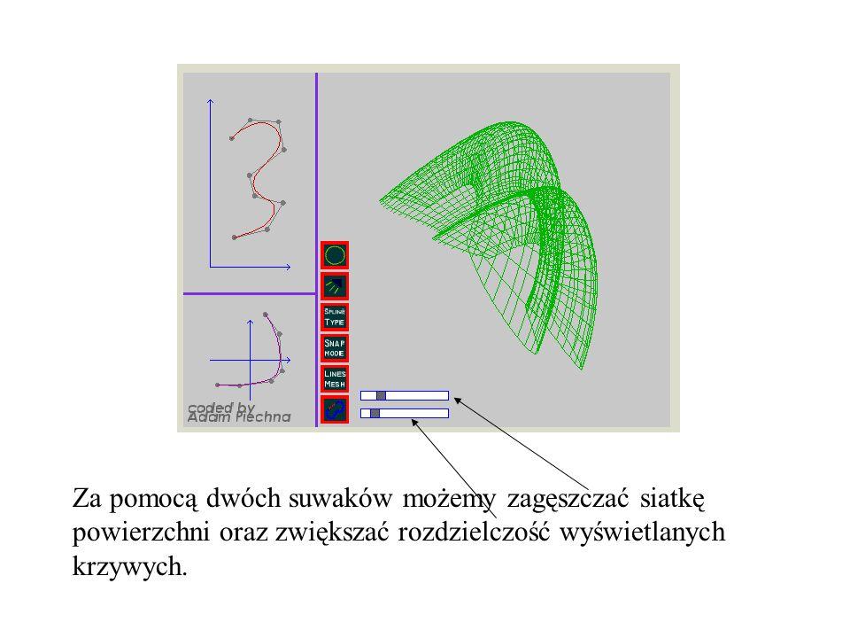 Za pomocą dwóch suwaków możemy zagęszczać siatkę powierzchni oraz zwiększać rozdzielczość wyświetlanych krzywych.