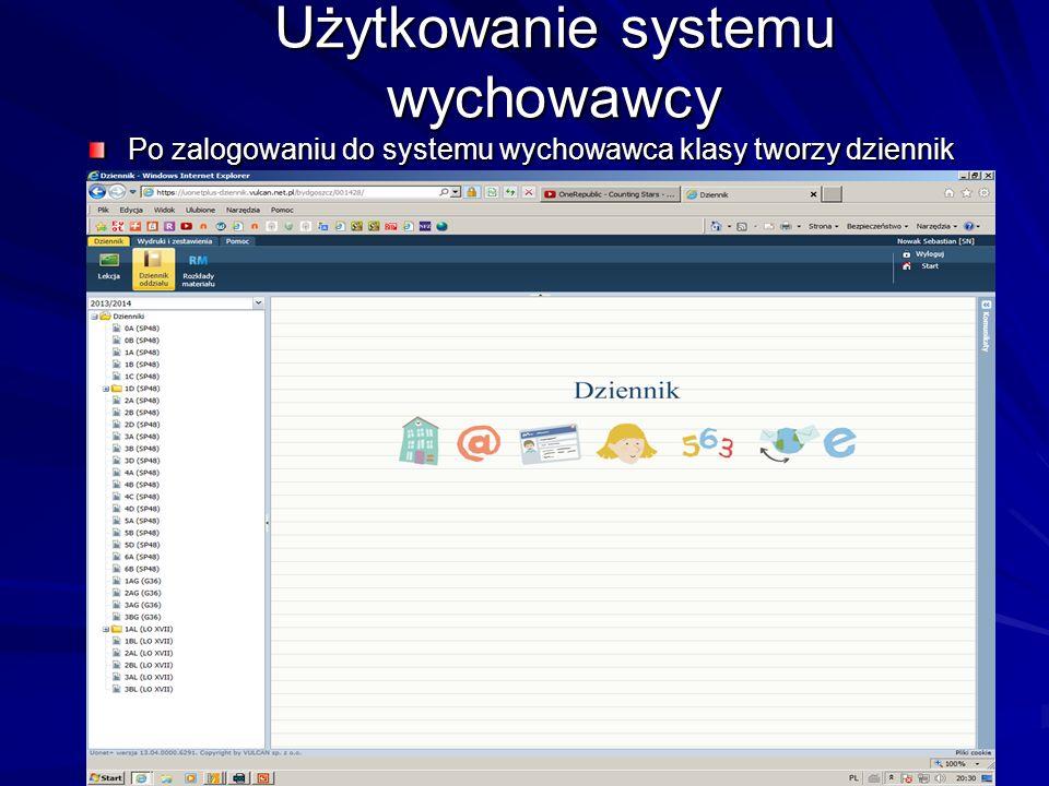 Użytkowanie systemu wychowawcy W tym celu wybieramy z belki ikonę Dziennik oddziału Wybiera swoją klasę W prawym oknie wybiera przycisk załóż dziennik UWAGA tylko wychowawca podany przez sekretariat ma prawo założyć dziennik
