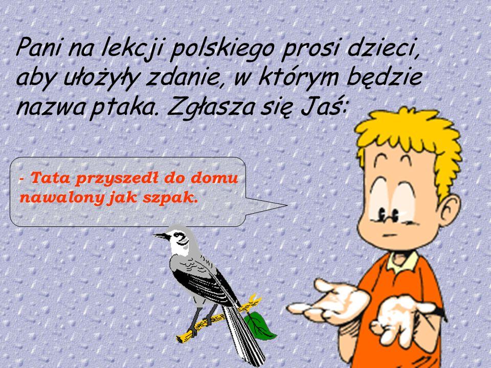 Pani na lekcji polskiego prosi dzieci, aby ułożyły zdanie, w którym będzie nazwa ptaka. Zgłasza się Jaś: - Tata przyszedł do domu nawalony jak szpak.