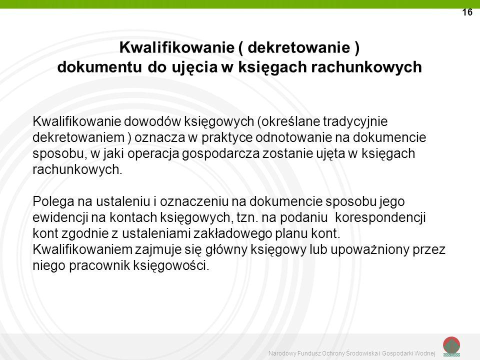 Narodowy Fundusz Ochrony Środowiska i Gospodarki Wodnej Kwalifikowanie ( dekretowanie ) dokumentu do ujęcia w księgach rachunkowych Kwalifikowanie dow
