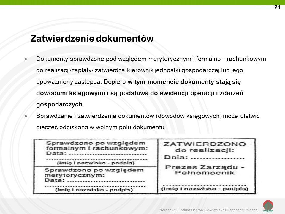 Narodowy Fundusz Ochrony Środowiska i Gospodarki Wodnej Dokumenty sprawdzone pod względem merytorycznym i formalno - rachunkowym do realizacji/zapłaty