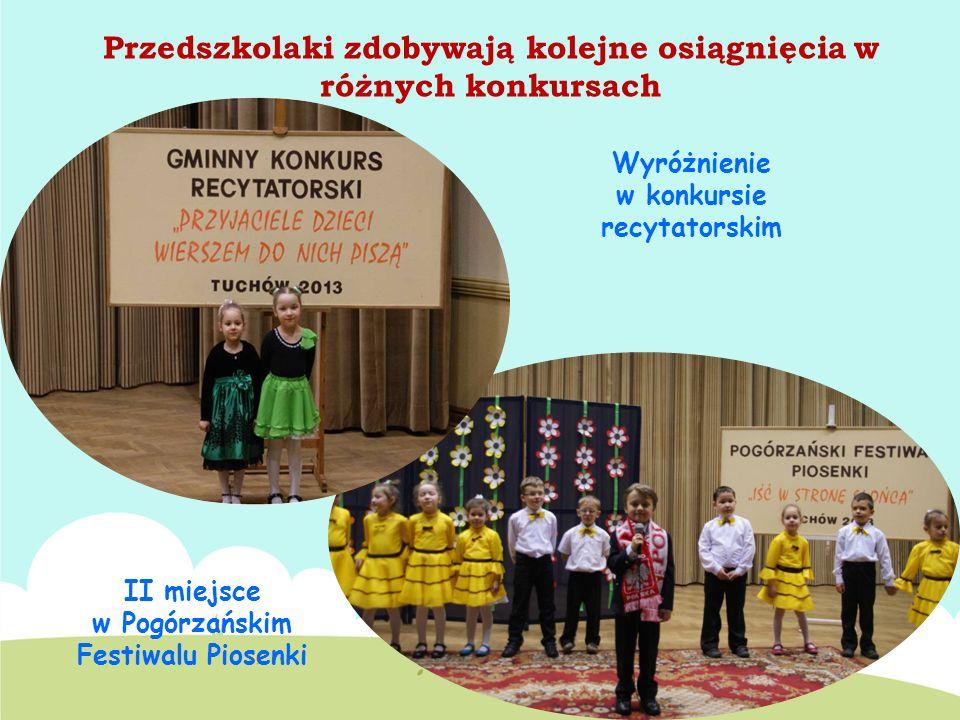 Przedszkolaki zdobywają kolejne osiągnięcia w różnych konkursach II miejsce w Pogórzańskim Festiwalu Piosenki Wyróżnienie w konkursie recytatorskim